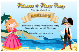 Princess Themed Birthday Invitation Cards Pirate Party Invitations U2013 Gangcraft Net
