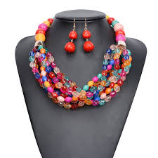 chunky jewelry necklace images Wholesale big bright multi color beaded chunky statement earrings jpg