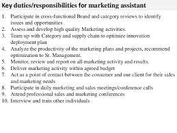 job description sample marketing assistant cover letter examples