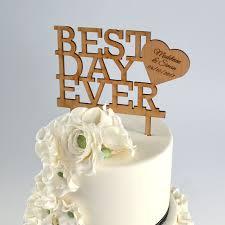 cake topper wooden wedding best day cake topper