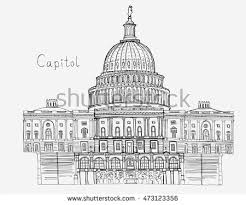 hand drawn architecture sketch illustration capitol stock vector