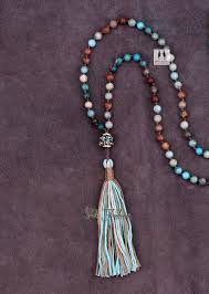 long beads necklace images Mixed natural jasper beads necklace with long tassel luxury jpg