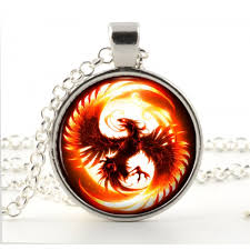 necklace art images Silver phoenix necklace glass pendant fantasy fire bird art jpg