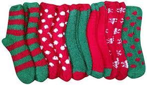 fuzzy christmas socks 12 units of excell women s christmas striped fuzzy socks