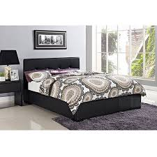 novara queen faux leather upholstered bed with headboard black