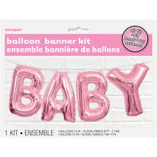foil pink baby balloon word banner kit baby shower decorations