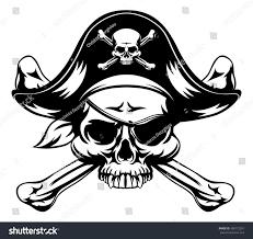 skull crossbones pirate jolly roger wearing stock vector 438172591