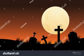 silhouette graveyard full moon halloween scaryy stock vector