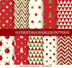 flat christmas wrapping paper ten christmas different seamless patterns stock vector