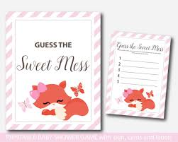 pink woodland dirty diapers baby shower game pink fox guess the
