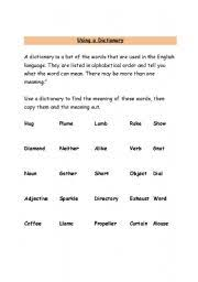 english teaching worksheets working with the dictionary