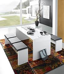 table cuisine banc ensemble table et bancs design blanc laqué carioka ii ensemble