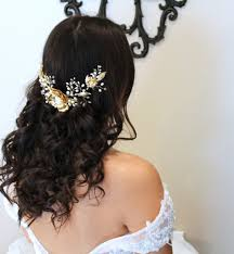 pearl headpiece gold leaf and flower hair vine freshwater pearl headpiece wedding