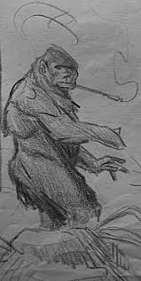 man in monkey suit or bigfoot sketch by brendanmockridge71 on