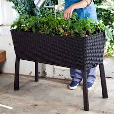 modern dark brown resin wicker raised garden bed planter with