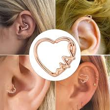 heart cartilage earring heart shaped waves left closure daith cartilage earring