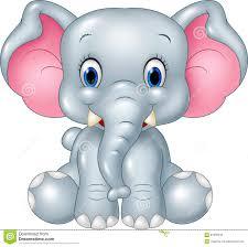 cartoon funny baby elephant sitting isolated on white background