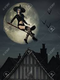 free digital background halloween digital render of halloween witch flying over rooftops with