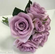 Fake Wedding Flowers Silk Wedding Bouquet Artificial Roses Dusty Lavender Lilac Rose