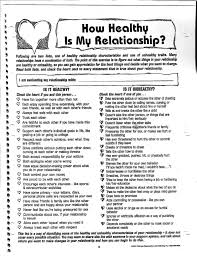 Healthy And Unhealthy Relationships Worksheets Prevention Live Violence Free