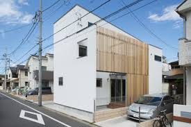 modern white wall japan house exterior combined with wooden wall
