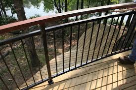home organization modern dark brown wooden deck railing spindles