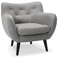 canapé 1 place et demi fauteuil de salon 1 place gaspard mini en tissu gris clair