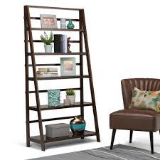 Bookcase Ladder Simpli Home Acadian Tobacco Brown Ladder Bookcase Axwell3 016w