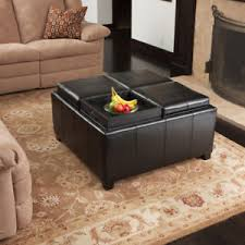 leather tray top ottoman 4 tray top black leather storage ottoman coffee table 817056010422