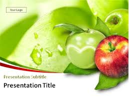 download red and green apples with leaves powerpoint template