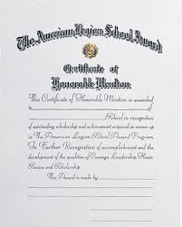 Certification Letter Of Accomplishment Certificates American Legion Flag U0026 Emblem