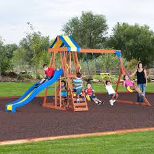 exterior outdoor playground design with backyard playsets and
