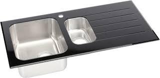 Black Glass Kitchen Sinks 1 5 Bowl Kitchen Sink With White Glass Drainer