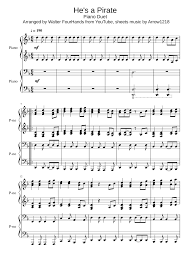 he s a pirate piano duet sheet for piano and keyboard