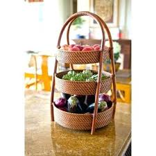 fruit basket stand tiered fruit basket stand interior design shop rustic 2 tier