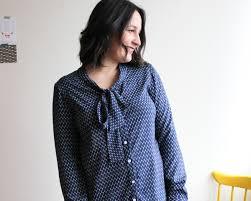 blouses with bows navy feather print oakridge bow blouse sewaholic