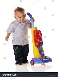 Toy Vaccum Cleaner Adorable Mixedrace Toddler Working His Toy Stock Photo 75217279