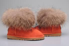 womens ugg fur boots style ugg 5854 fox fur boots mini boots orange