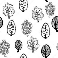 seamless texture with ornamental trees endless black