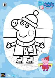 peppa pig ice skating coloring page free christmas printables