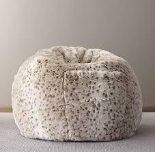 faux fur bean bag snow leopard
