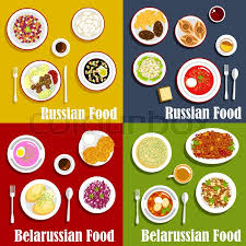 olivier cuisine and belarusian traditional national cuisine draniki and