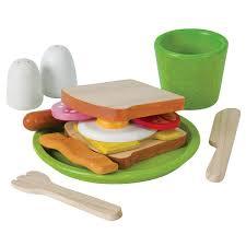 cuisine en bois jouet pas cher dinette plateau petit déjeuner plantoys planwood ekobutiks l ma