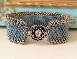 clasp cuff bracelet images Peyote stitch beaded cuff bracelet denim blue country cuff jpg