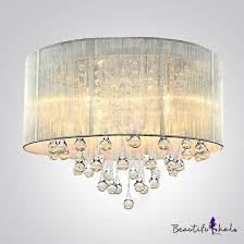 silver drum shade and rich crystal rainfall flush mount chandelier