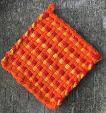 orange red and yellow cotton loop pot holder woven trivet oven
