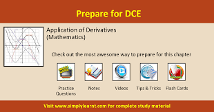 formulae on application of derivatives mathematics dce