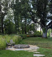 flagstone pavers landscape contemporary with backyard firepit