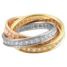 tricolor ring cartier diamond tricolor gold ring for sale at 1stdibs