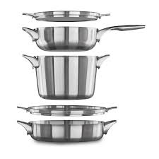Calphalon Stainless Steel Toaster Calphalon Premier Space Saving Stainless Steel 5 Piece Cookware